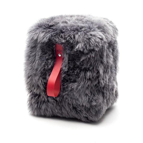 Sivo-červený hranatý puf z ovčej vlny Royal Dream