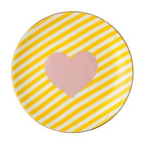 Žlto-biely porcelánový tanier Vivas Heart, Ø23 cm