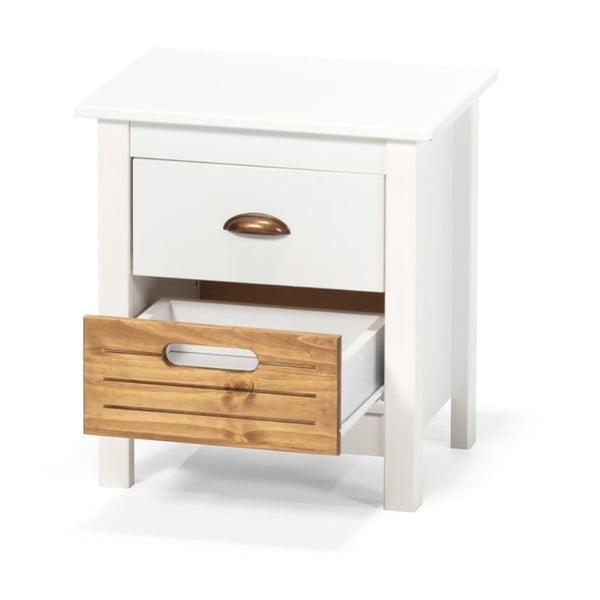 Biely nočný stolík z borovicového dreva s 2 zásuvkami loomi.design Ibiza
