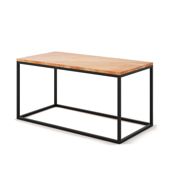 Veľký béžový konferenčný stôl z mramoru s čiernou podnožou Absynth Noi Spain