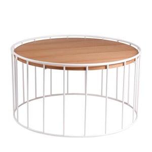 Biely odkladací stolík sdoskou vdekore dubového dreva sømcasa Lucas