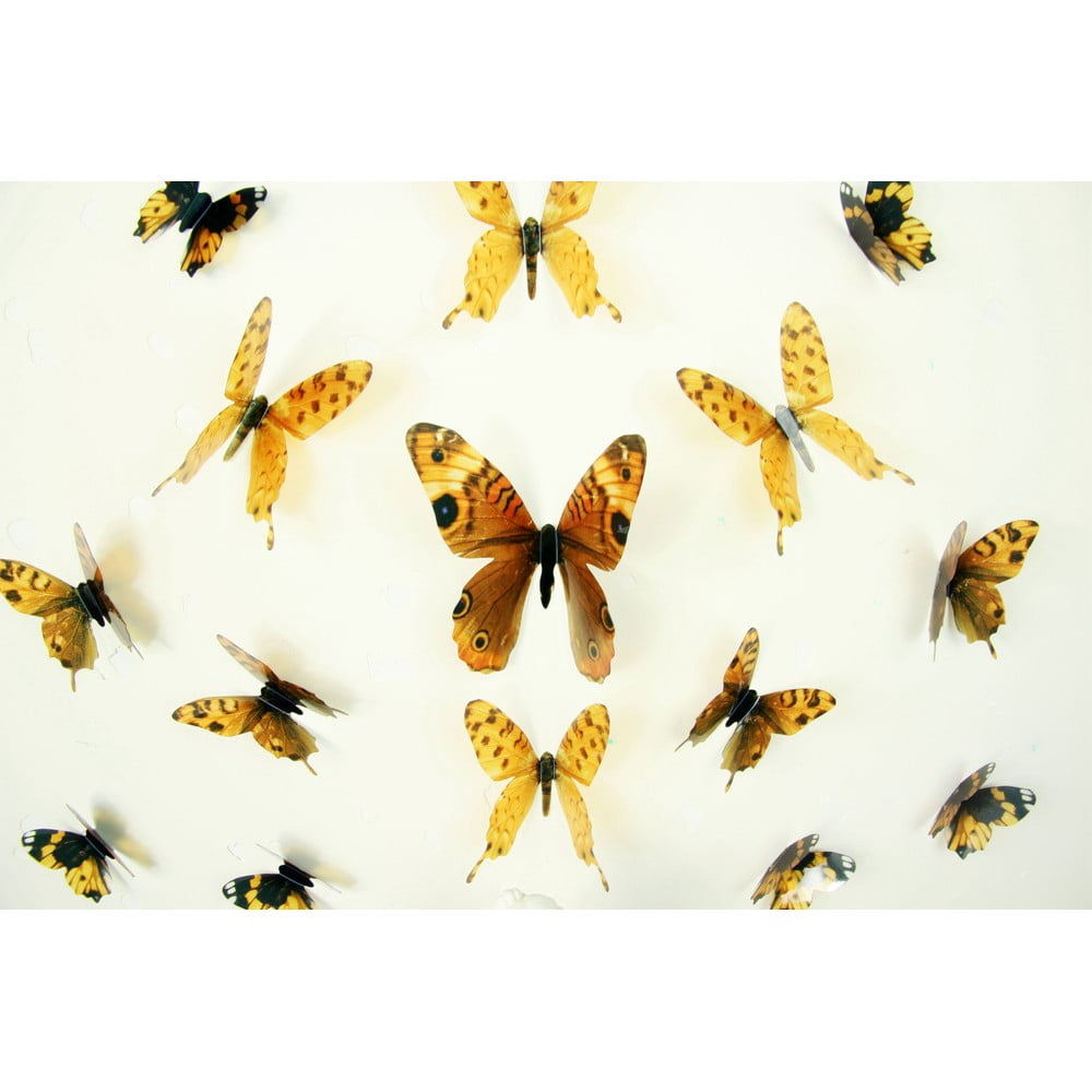 Sada 18 adhezívnych 3D samolepiek Ambiance Butterflies Yellow