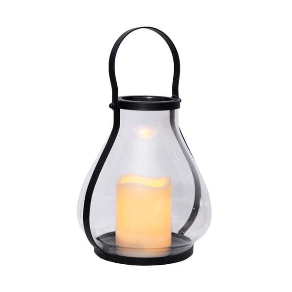 Sklenený LED lampáš s čiernym kovaním Best Season