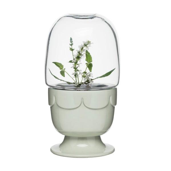 Svetlozelený kvetináč s poklopom Sagaform Greenhouse