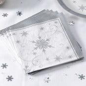 Sada 20 obrúskov Neviti Shimmering Snowflake