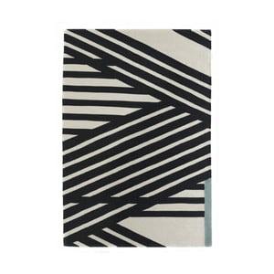 Ručne tkaný čierno-biely vlnený koberec Art For Kids Stripes, 160 x 230 cm