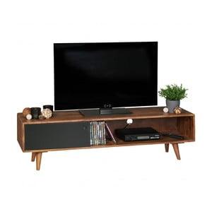 Hnedo-čierna TV komoda z masívneho sheeshamového dreva Skyport REPA, výška 40 cm