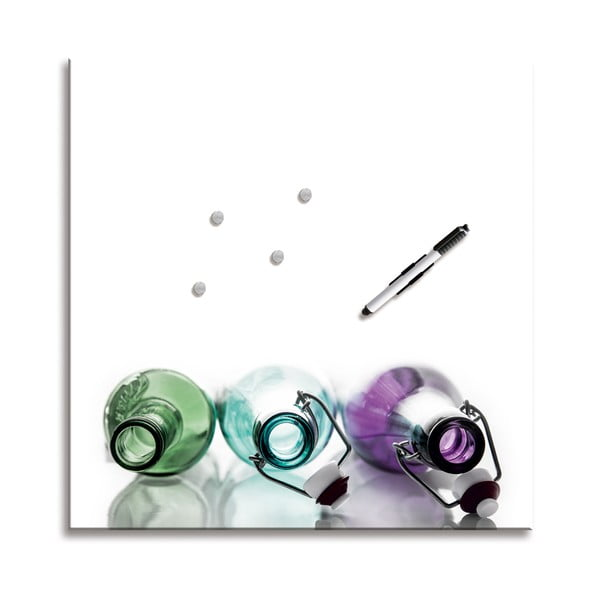 Magnetická tabuľa Coloured Bottles, 50x50 cm
