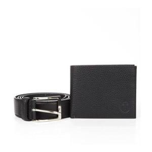 Pánsky darčekový set čiernej koženej peňaženky a opasku Trussardi Abel
