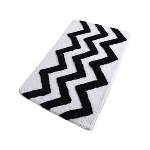 Čierno-biela kúpeľňová predložka Confetti Bathmats Zigzag, 60 x 100 cm