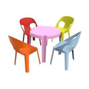 Detský záhradný set 1 ružového stola a 4 stoličiek Resol Julieta