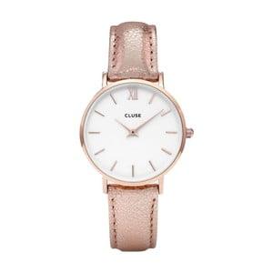 Dámske hodinky s metalicky ružovým remienkom Cluse Minuit Gold