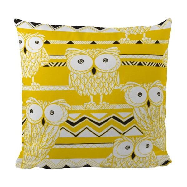Vankúš Yellow Owls, 50x50 cm