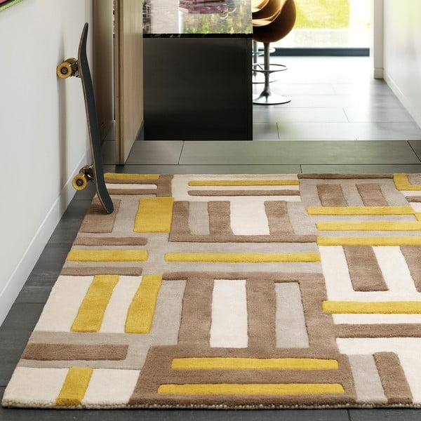 Vlnený koberec Matrix Code Yellow 160x230 cm