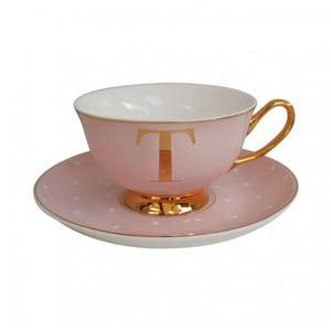Ružový hrnček s tanierikom s písmenom T Bombay Duck
