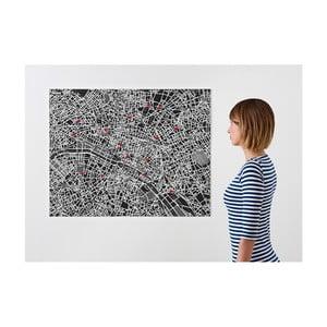 Čierna nástenná mapa Palomar Pin Paríž