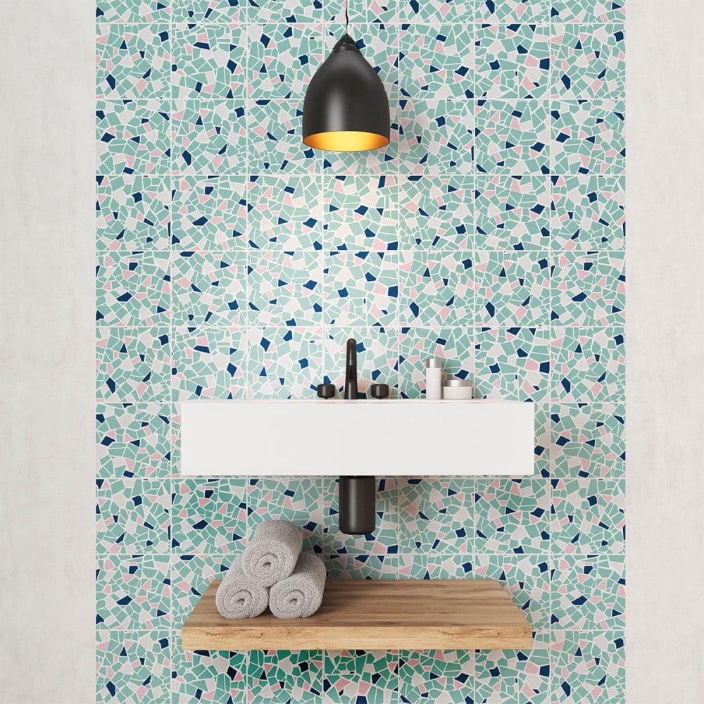 Sada 24 nástenných samolepiek Ambiance Cement Tile Stickers Terrazzo Aqua, 10 x 10 cm