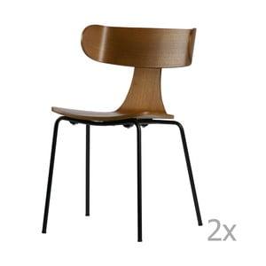 Sada 2 jedálenských stoličiek z tmavej jaseňovej dyhy De Eekhoorn Form