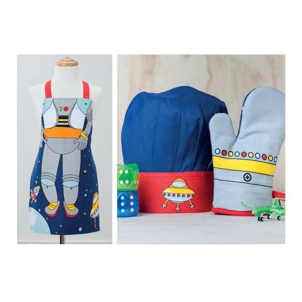 Set detskej zástery, kuchynskej rukavice a čiapky Ladelle Spaceman