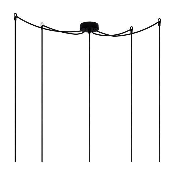 Čierne závesné svietidlo s 5 káblami Bulb Attack Uno