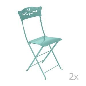 Sada 2 modrých kovových skladacích záhradných stoličiek Fermob Bagatelle