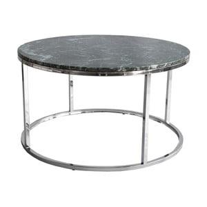 Zelený mramorový konferenčný stolík s chrómovanou podnožou RGE Accent, ⌀ 85 cm