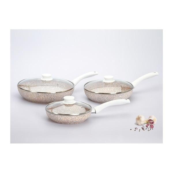Set 3 panvíc s pokrievkou a bielou rukoväťou Bisetti Stonerose