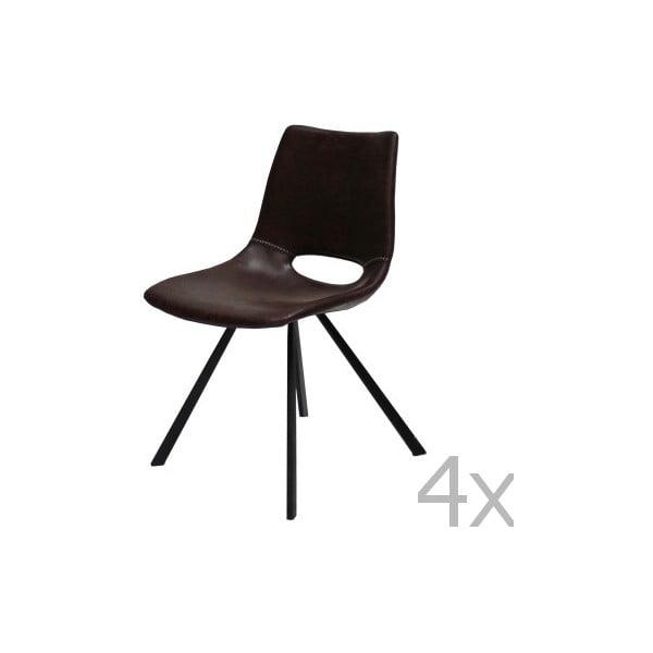 Sada 4 hnedých stoličiek Canett Coronas
