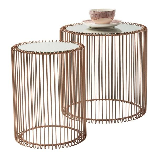 Sada 2 odkladacích stolíkov v dekore medi Kare Design Wire High