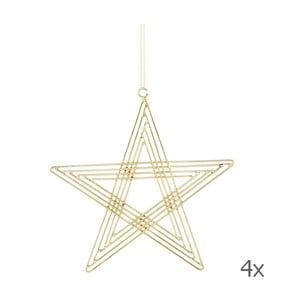 Sada 4 závesných hviezd Path Brass