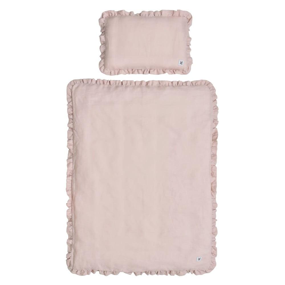 Ružové detské ľanové obliečky s výplňou BELLAMY Dusty Pink, 140 × 200 cm