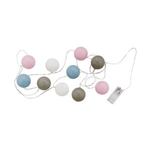 Sivo-ružová svetelná reťaz s 10 guľami Butlers In the Mood, dĺžka 3 m