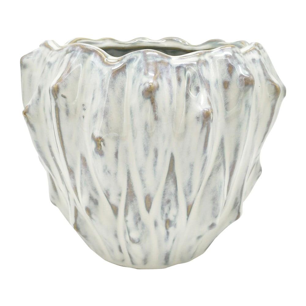 Slonovinovobiely keramický kvetináč PT LIVING Flora, ø 16,5 cm