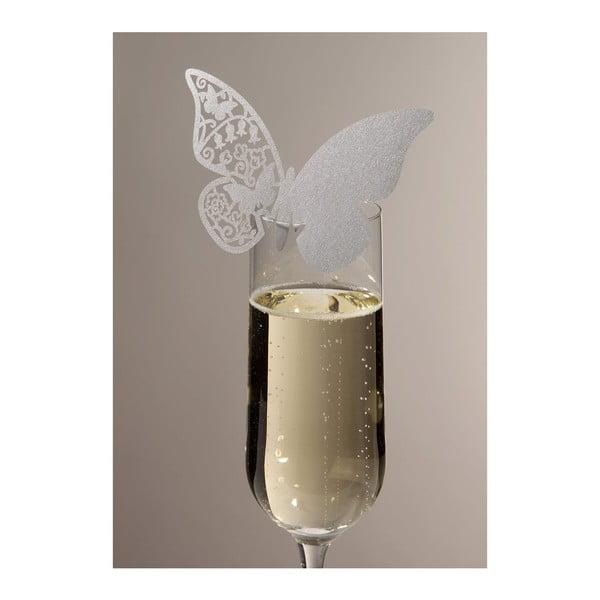 Sada 10 menoviek/rozlišovačov na poháre Butterflies, strieborná
