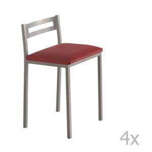 Sada 4 nízkych červených barových stoličiek Pondecor Elias