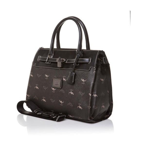Kožená kabelka do ruky Canguru Pendant, čierna