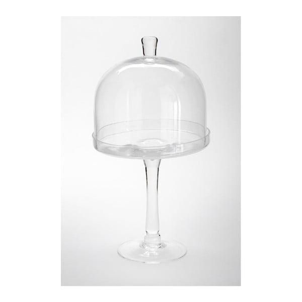 Sklenený podnos s poklopom Dome Knob, 20x38 cm