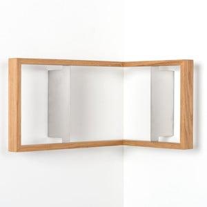 Rohová polica na knihy z dubového dreva das kleine b b2, výška 25cm