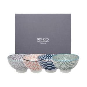 Sada 4 porcelánových misiek na ryžu Tokyo Design Studio Geo Eclectic