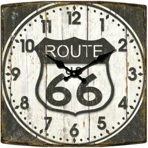 Sklenené hodiny Route 66, 34x34 cm