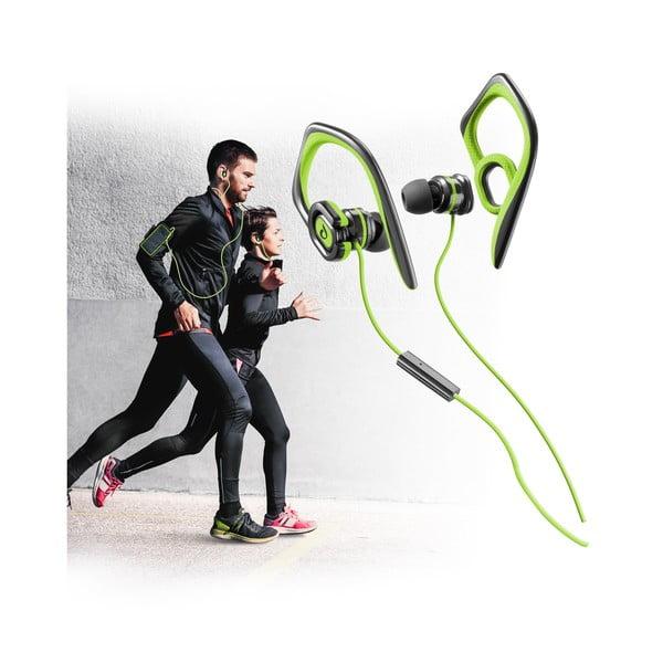 Športové slúchadlá CellularLine GRASSHOPPER s mikrofónom, limetkové
