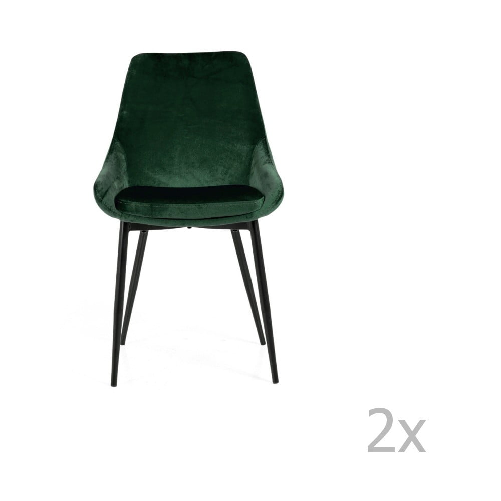 Sada 2 zelených jedálenských stoličiek sa zamatovým poťahom Tenzo Lex