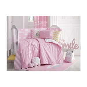 Ružové detské bavlnené obliečky s plachtou na jednolôžko Apolena Carino, 100 x 150 cm