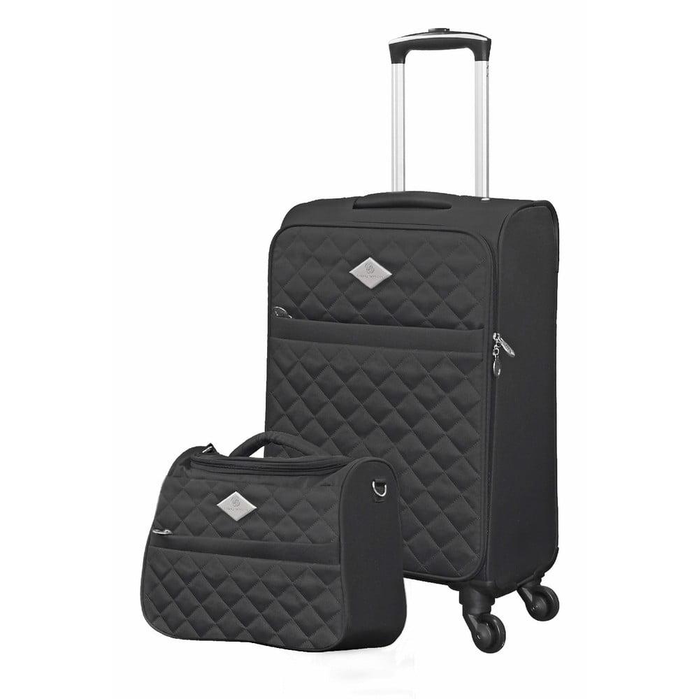 Set černého cestovného kufra na kolieskach a menšieho kufríka GERARD PASQUIER Valises Cabine & Unity Case