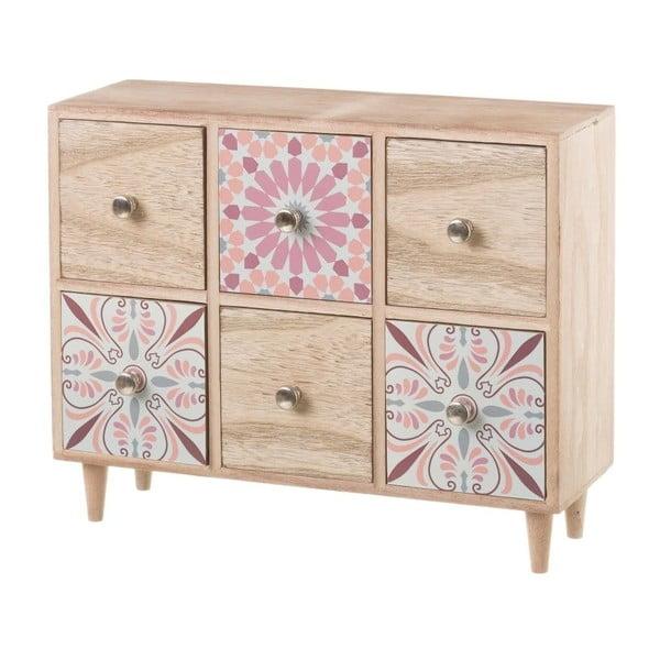 Ružová skrinka so 6 zásuvkami s dekoratívnymi motívmi Unimasa, výška 26 cm