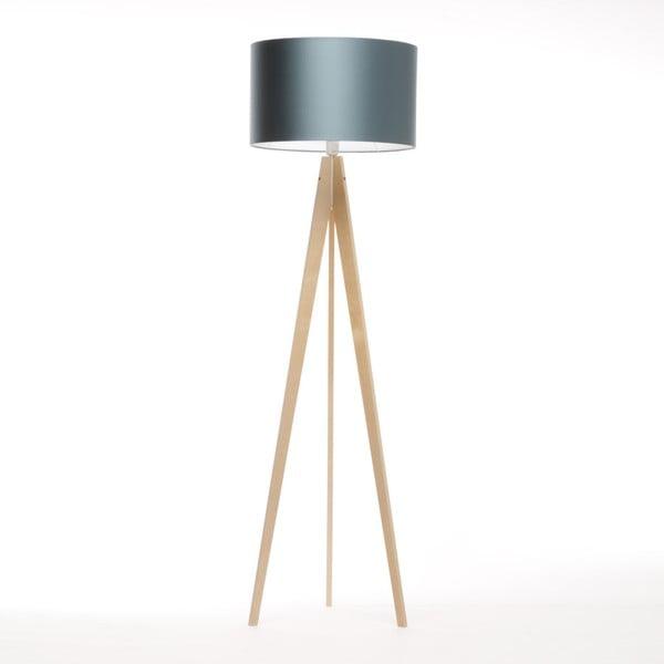 Modrá stojacia lampa Artista, prírodná breza, 150 cm