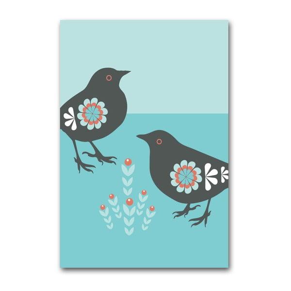 Plagát Vtáčiky s rastlinkou, malý
