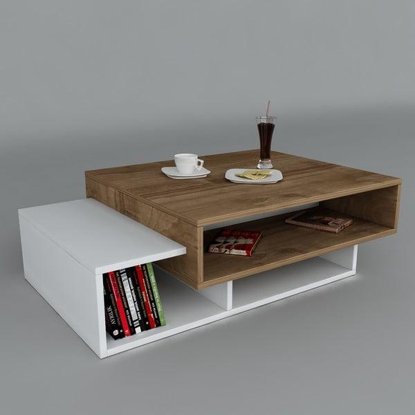 Konferenčný stolík Tab White/Walnut, 60x105x32 cm