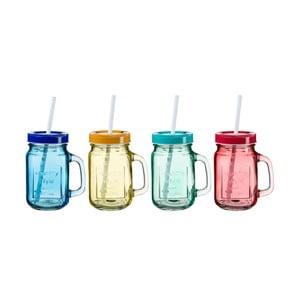 Sada 4 farebných pohárov s viečkom a slamkou SUMMER FUN II, 450ml