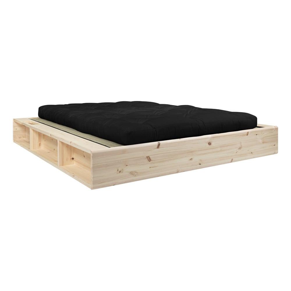 Dvojlôžková posteľ z masívneho dreva s čiernym futonom Double Latex a tatami Karup Design, 180 x 200 cm